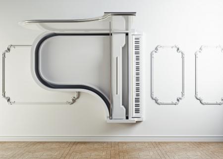 piano de cola: piano de cola en el concepto de la pared interior