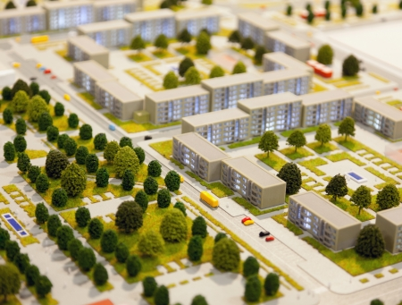 tilt shift: architectural model of city district (tilt shift effect)