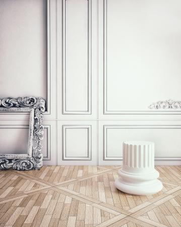advertising column: classic interior scene with column pedestal