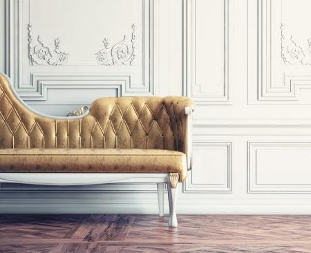 壁 (レトロ スタイルの図) の横にある美しいビンテージ ソファ