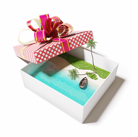 vacations: beautiful tropical island in the gift box (creative concept)