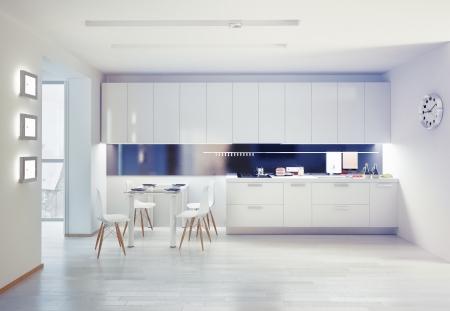 white: modern kitchen interior. design concept
