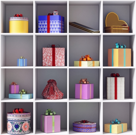 set of gift boxes on she shelves  photo