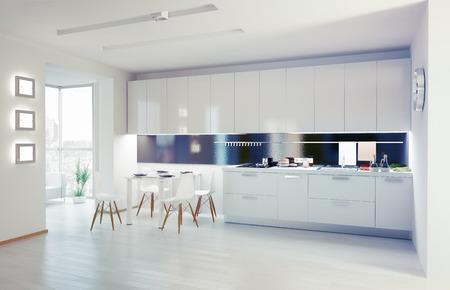 モダンなキッチンのインテリア デザインのコンセプト