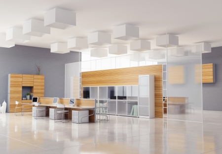the modern office interior design  photo