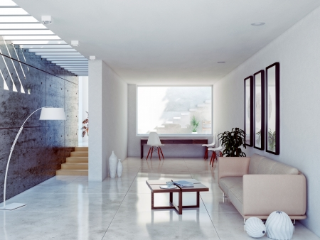 concrete form: modern living room interior. contemporary concept