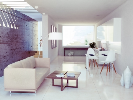 modern interior design ( apartment 3d rendering) photo