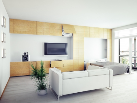 modern  interior design (computer generated image, 3D) photo