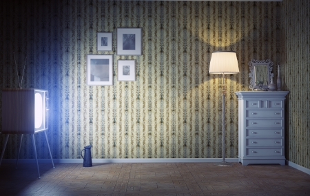 room wallpaper:  vintage interior  and  retro tv in the dark room Stock Photo