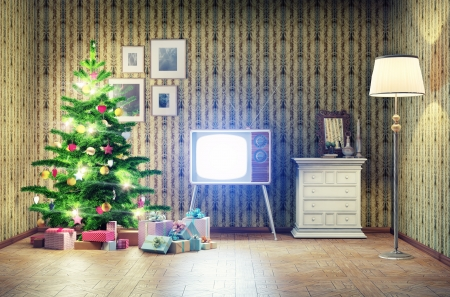 nostalgy: old styled interior with christmas tree and tv