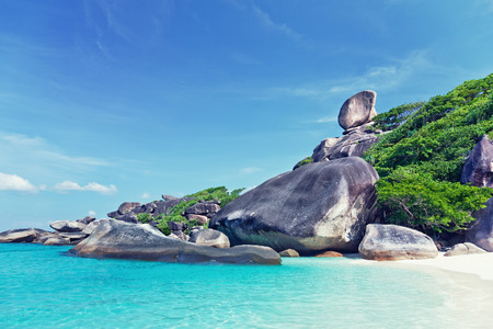 similan islands:  Hin Rue Bai landmark ,Similan Island , PhangNga Province Thailand