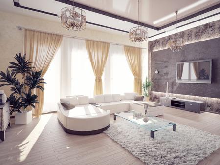Moderne Wohnzimmer Interieur Standard-Bild - 26085086