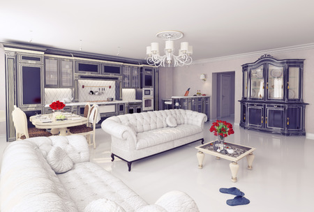 classic living room: luxury kitchen interior in classic style (3D rendering)