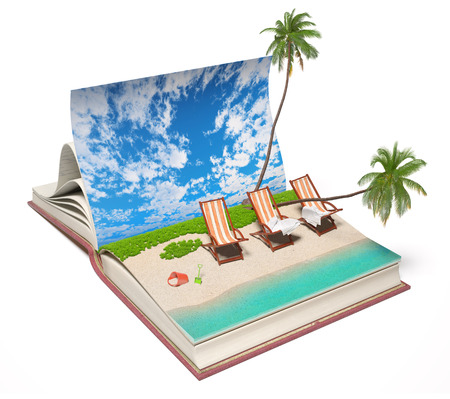 imaginary: Open book with a tropical beach inside. 3d concept  Stock Photo