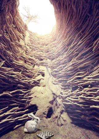 lapin et d'échecs dans une profonde trou vers le concept créatif de la lumière du soleil
