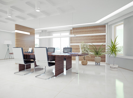 wood blinds: modern office interior  design concept  Stock Photo