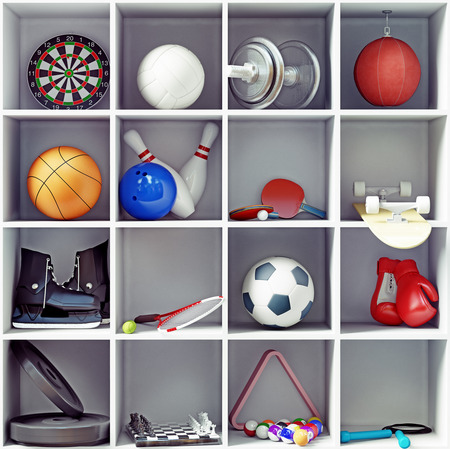 sport equipment on the shelves  creative concept