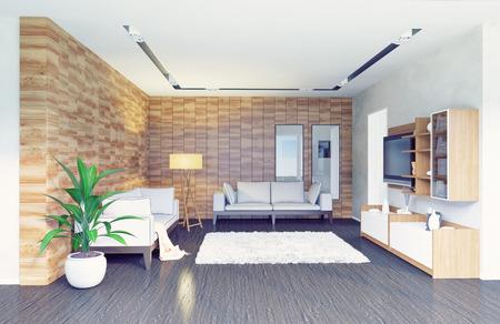 moderne woonkamer interieur design (3d concept) Stockfoto