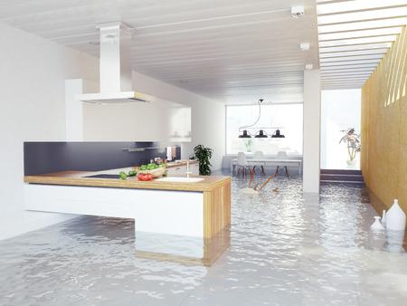 flood water: flooding kitchen modern interior (3D concept) Stock Photo