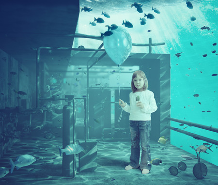 balls deep: Little girl with ball underwater. CG and photo elements compilation