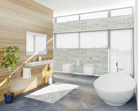 wood blinds: modern bathroom design (3D concept)