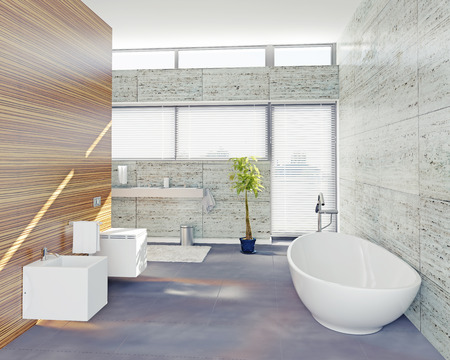 modern bathroom design (3D concept) photo