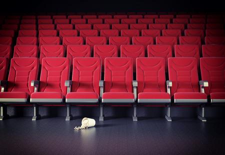 cretive: cinema interior and popcorn on the floor. cretive concept