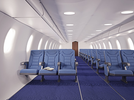 kabine: Flugzeuginnensitze mit offenen Buch Lizenzfreie Bilder