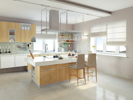 architectural lighting design: modern kitchen interior (CG concept)