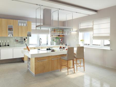 modernes Kücheninterieur (CG-Konzept) Standard-Bild