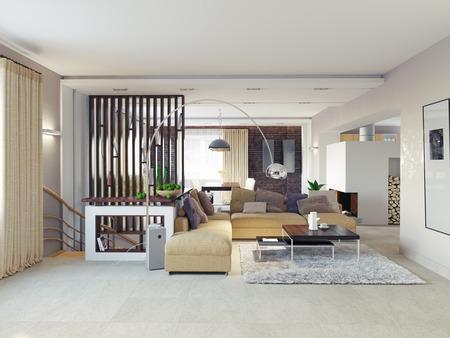 entresol: Big and comfortable living room.3D design concept