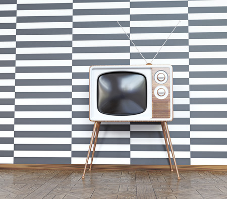 tv show: vintage television over white& black  background. 3d concept