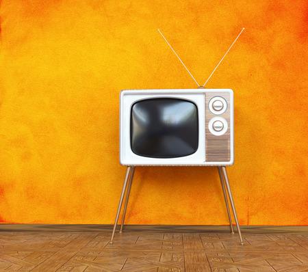 vintage televisie over oranje achtergrond. 3d concept