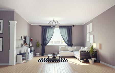 Design intérieur moderne (appartement privé de rendu 3d) Banque d'images - 27889034
