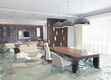 Berschwemmungen im luxuriösen Interieur. 3d kreative Konzept Standard-Bild - 28361818