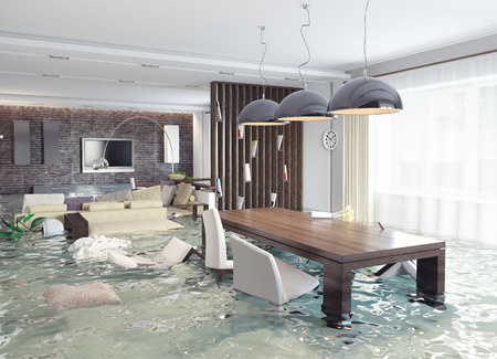 home insurance: flooding in luxurious interior. 3d creative concept