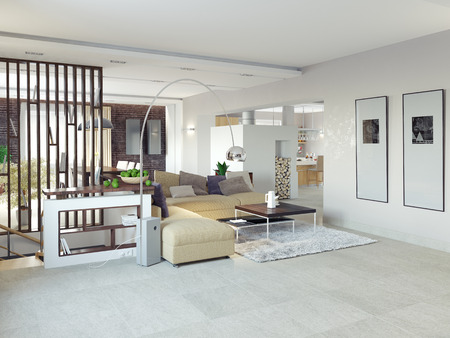Big and comfortable living room.3D design concept  photo