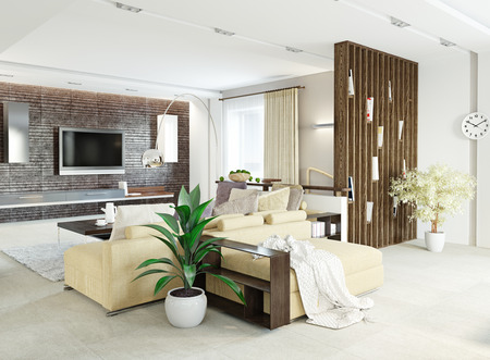 fireplace living room: modern living room interior design (3d concept)