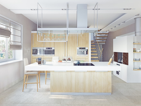 architectural lighting design: modern kitchen interior (CG concept)  Stock Photo