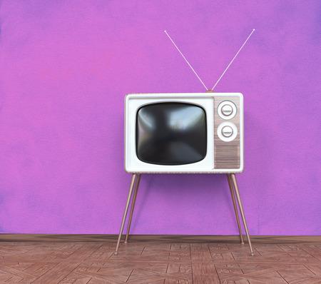 television show: vintage television over pink background. 3d concept
