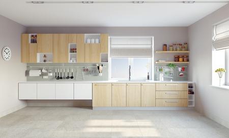 Cucina moderna interni (CG concetto) Archivio Fotografico - 28391385