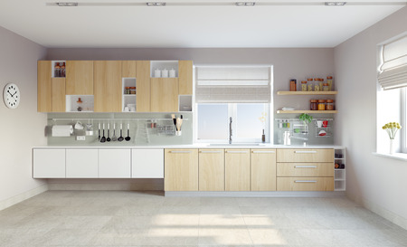 clean kitchen: modern kitchen interior (CG concept)
