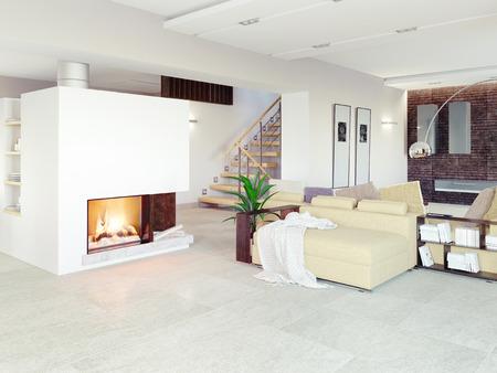 loft apartment: modern living room interior (CG concept)