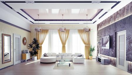 Moderne Wohnzimmer Interieur .3d Konzept Standard-Bild - 28469746