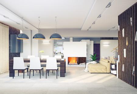 modern dining room interior. 3d concept  Banco de Imagens