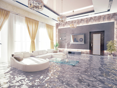 emergencies and disasters: flooding in luxurious interior. 3d creative concept