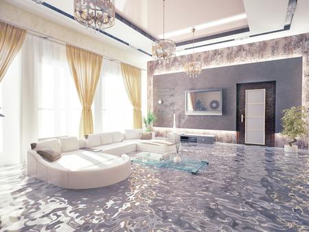 seau d eau: inondations à l'intérieur luxueux. Concept créatif 3d Banque d'images
