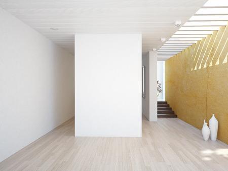 빈 벽 현대적인 인테리어. 3D 개념