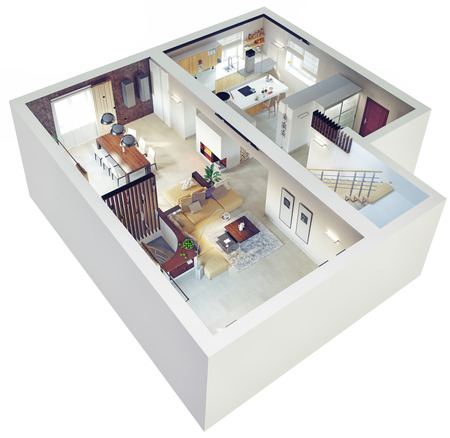 high view: Plan view of an apartment.Ground floor. Clear 3d interior design.