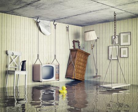 mojado: la vida ordinaria en el piso inundado. 3d concepto Foto de archivo